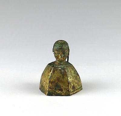 Rare Antique Chinese Gilt Bronze Double Buddha Head Scroll Weight Or Wood Finial