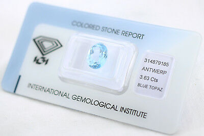 Natural Topaz 3,63ct Blue Oval Mixed Cut IGI Certificat sealed