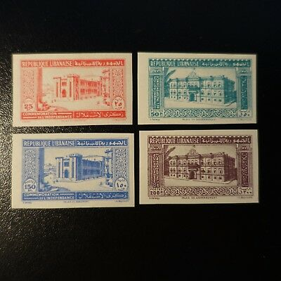 France Colonie Grand Liban N°189/192 Timbre Non Dentelé Imperf 1943 Neuf ** Mnh