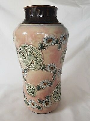 Harriet E Hibbut Doulton Lambeth Vase Oriental Lge Bird Dragon And Floral Design