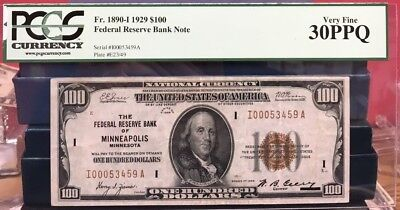 1929 $100. Brown Seal National Currency Minneapolis Pcgs Vf 30 Ppq Free Shippi