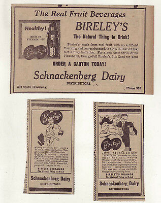 Three 1940 newspaper ads for Bireley's Orange - Natural Thing to Drink, Healthy