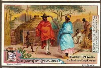 Pre Boer War Transvaal South Africa Natives Village  c1896 Trade Ad Card