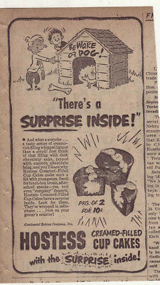 1951 newspaper ad for Hostess Cup Cakes - Surprise in each, tiny dog  big house