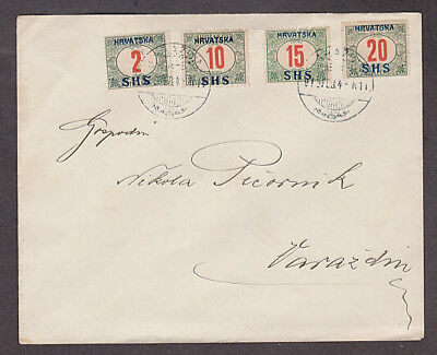 Croatia - 1919 Cover with 4 overprinted Hungarian stamps
