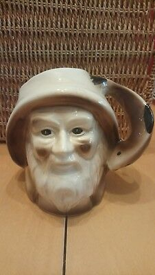 Unusual Character Jug Of An Old Fisherman In Sowester Fish Handle Unmarked