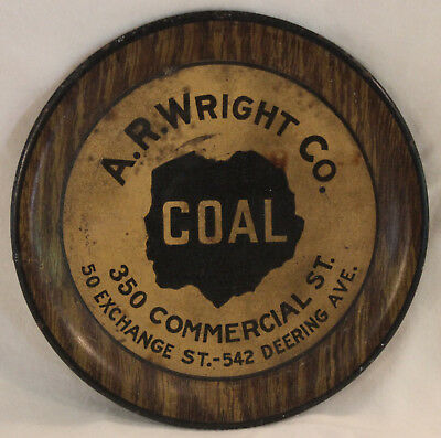 Original Vintage A.R. Wright Co. Coal Advertising Tip Tray Portland Maine