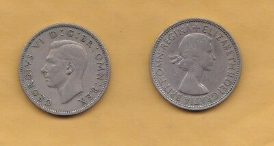 2 coins: Great Britain 2 shillings - 1949 and 1953 - circulated, uncleaned