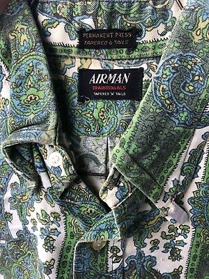 Vintage men's airman green paisley tapered N Tails shirt - S/M