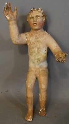 19thC Antique RELIGIOUS ICON Old CARVED WOOD Folk Art BABY JESUS Nativity STATUE