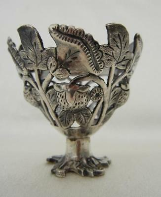 Antique 1800's Silver Turkish Ottoman Pierced Berry/Floral Design Egg Cup Holder