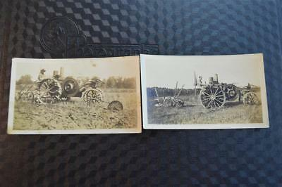 Vintage Photos Unusual Farm Engine Steam Tractor Plowing Field Free Shipping 878