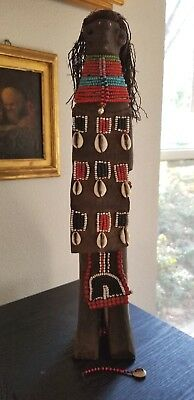 """Antique African Wood Fetish Doll Glass Beads with Leather 16"""" Cowrie Shells"""