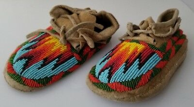 Antique Handmade Leather SIOUX BEADED CHILD'S MOCCASINS