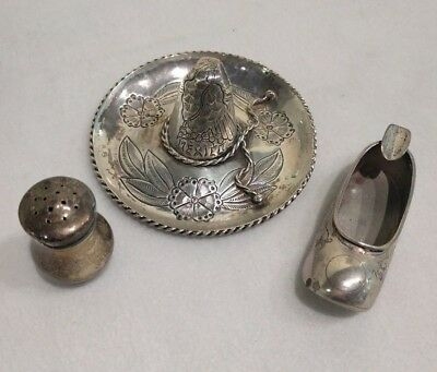 Sterling Silver Salt, Chinese Slipper Ash Tray, Mexican Sombrero Hat
