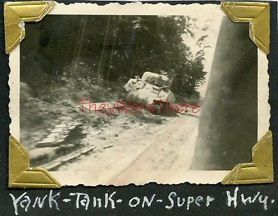 WWII photo- 497th Medical Co- US M4 SHERMAN Tank roadside- SUPER HIGHWAY-Germany