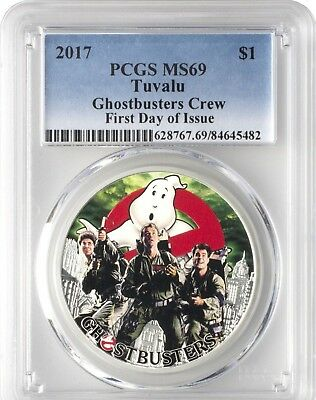 2017 Tuvalu Large 1 OZ .999 Silver Proof $1 Ghostbusters Crew PCGS PR69