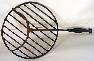 Antique Wrought Iron Early American 3 Legged Fireplace Cooking Rotary Broiler