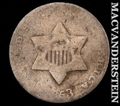 1853 Three Cent Silver-Scarce Better Date!!! #z9855