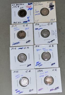 Great Britain 3 Pence Lot of 8 Sterling Silver Coins