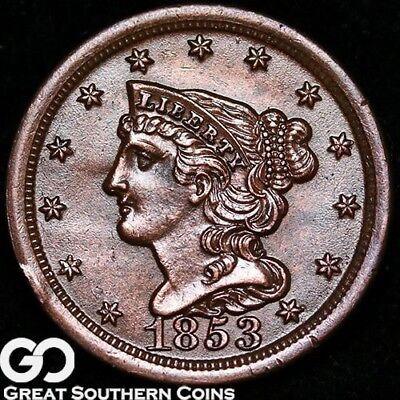 1853 Half Cent, Braided Hair, Very Sharp Early Copper