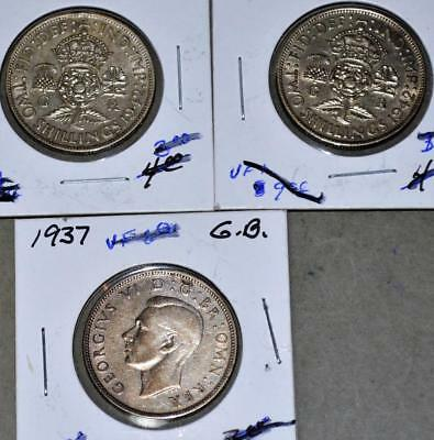 Great Britain Florin Lot of 3 Silver Coins