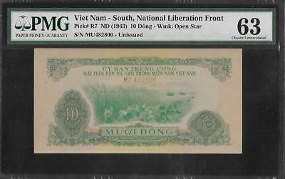 South Vietnam P-R7 10 Dong 1963 PMG 63