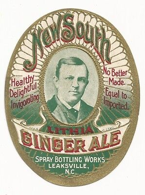 Circa 1900 New South Lithia Ginger Ale Label - Leaksville, NC