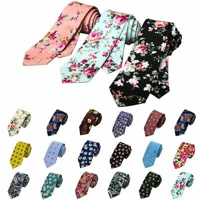 Narrow Skinny Necktie Casual Neck Tie Floral Flower Moderator Party Tie Gift