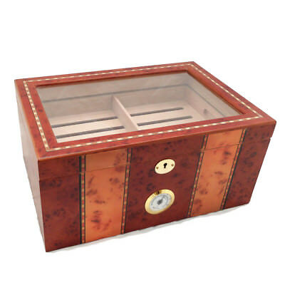 NO RESERVE 150 ct LUXURY CLEAR TOP BURLWOOD CIGAR HUMIDOR - OPEN BOX