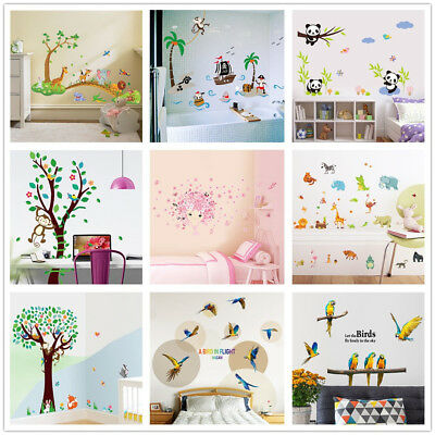 Cartoon Animals Kids Children Wall Stickers Bedroom Art Decal For Play Study UK