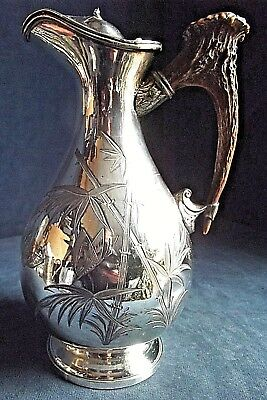 """GOOD Ornate 10"""" ~ SILVER Plate & STAG Antler ~ BULBOUS Water / WINE JUG ~ c1890"""