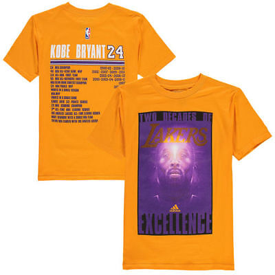 2fca6a7a3 Kobe Bryant Los Angeles Lakers adidas Youth Two Decades of Excellence T- Shirt -