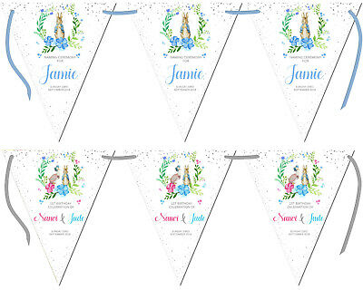 Personalised Bunting Jemima Peter Rabbit Christening Baptism Birthday Naming Day