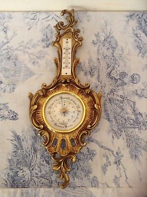 Vintage French Barometer - Ornate Ormolu Gold/Bronze Style Surround (1482)
