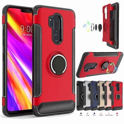 Hybrid Hard Armor Ring Holder Case Shockproof Stand Phone Cover For LG G7 ThinQ