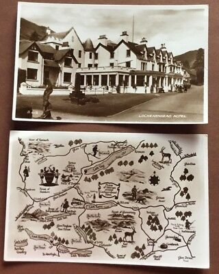 Scotland Lochearnhead Hotel & Map Real Vintage Photo Cards