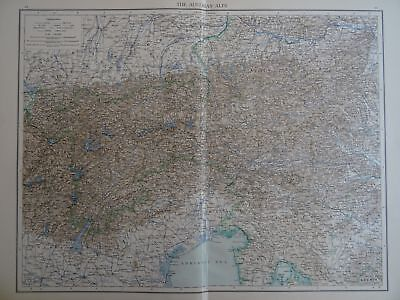 Large Victorian Map 1896 of THE AUSTRIAN ALPS The Times Atlas 1st Gen