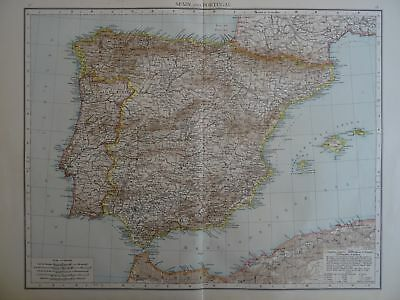 Large Victorian Map 1896 of SPAIN & PORTUGAL The Times Atlas 1st Gen