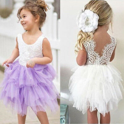 Flower Kids Baby Girl Princess Tutu Pageant Wedding Party Tulle Lace Dress Skirt