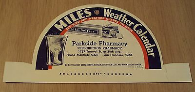 "VTG 1940 ADVERTISING Hanger~""MILES WEATHER CALENDAR""~San Francisco CA~"