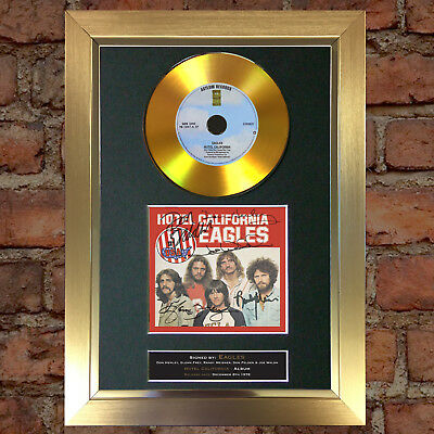 #135 GOLD DISC THE EAGLES Hotel California Signed Autograph Mounted Repro A4