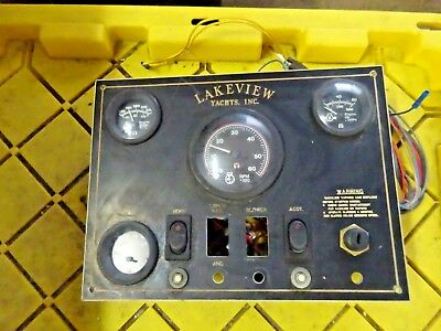 "Vintage Lakeview Yacht Volt Temp Oil Tach  Panel 12"" X 9""  Ig Horn & Accy Switch"