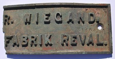 1890s Imperial Russia Estonia R. Wiegand Factory in Reval Machinery Number Sign