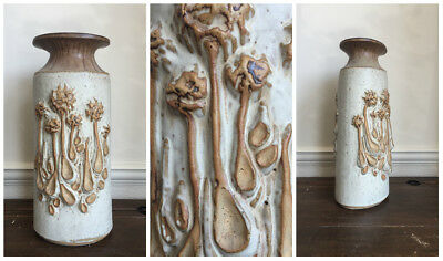 """large Studio Pottery textured VASE with abstract Floral Flower design 17"""" tall"""