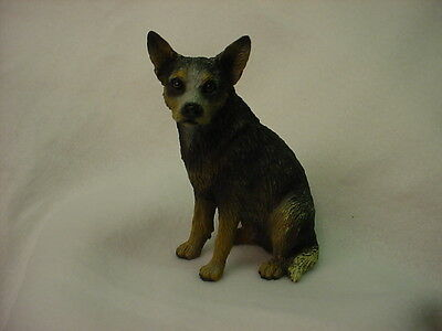 AUSTRALIAN CATTLE DOG FIGURINE Blue Heeler dog HAND PAINTED Statue Puppy NEW