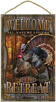 """WELCOME TO THE RETREAT 10"""" x 16"""" NATURE LOVER SIGN wood WILD TURKEY PLAQUE bird"""