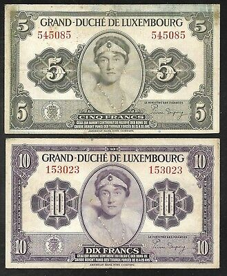 Luxembourg - Old 5 & 10 Franc Notes - 1944 - P43 & P44 - FINE to VF
