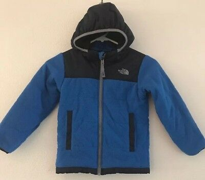 Boys THE NORTH FACE Reversible Hooded Jacket Youth Toddler Size 5 Blue EUC!