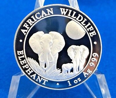 2014 Elephant Somali African Wildlife 100 Shillings .999 Silver 1 Troy Oz. Coin